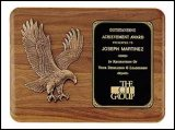 "11"" x 15"" Walnut Eagle Plaque TRO-P1683"